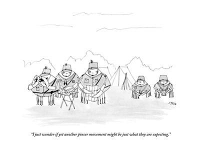 """I just wonder if yet another pincer movement might be just what they are ?"" - New Yorker Cartoon by Edward Steed"
