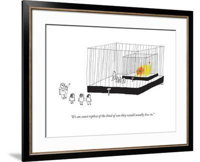 """""""It's an exact replica of the kind of zoo they would usually live in."""" - New Yorker Cartoon by Edward Steed"""