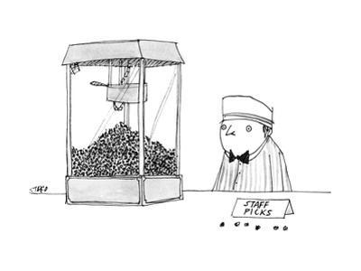 Movie theater attendant selling popcorn, to the right of the machine are t… - New Yorker Cartoon by Edward Steed