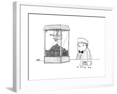 Movie theater attendant selling popcorn, to the right of the machine are t? - New Yorker Cartoon by Edward Steed