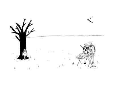 Police officer with compass finds boy next to tree with apple on his head ... - New Yorker Cartoon by Edward Steed