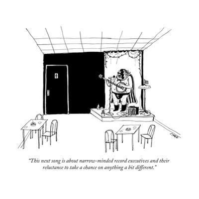 """This next song is about narrow-minded record executives and their relucta... - New Yorker Cartoon by Edward Steed"