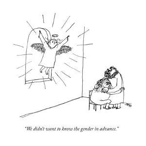 """""""We didn't want to know the gender in advance."""" - New Yorker Cartoon by Edward Steed"""
