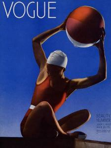 Vogue Cover - July 1932 - Red Beach Ball by Edward Steichen