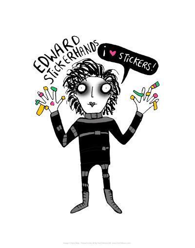 Edward Stickerhands - Katie Abey Cartoon Print-Katie Abey-Art Print