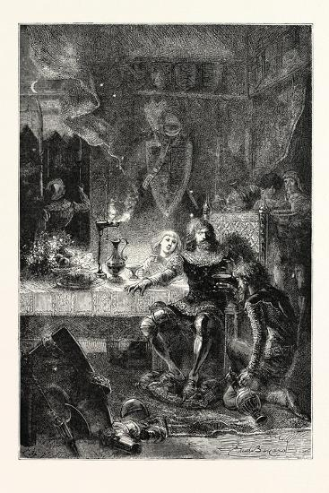Edward the Black Prince Serves His Prisoner John of France--Giclee Print