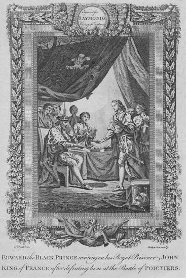 'Edward the Black Prince waiting on his Royal Prisoner John, King of France', c1787-Unknown-Giclee Print