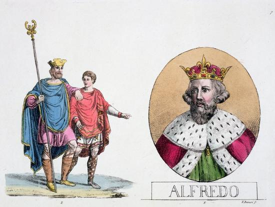 Edward the Confessor and Alfred the Great, English kings, 19th century-Unknown-Giclee Print