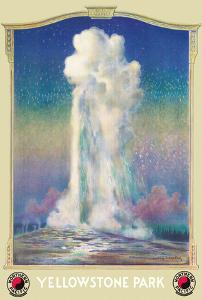 Yellowstone Park - Old Faithful Geyser - Yellowstone Park Line - Northern Pacific Railway by Edward V. Brewer