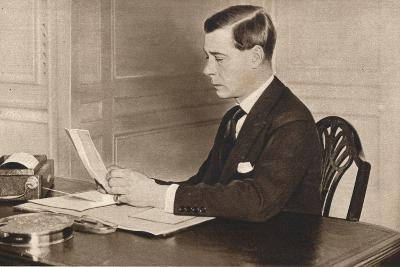 Edward Viii Working in His Office at St. Jamess Palace, London, 1936--Photographic Print