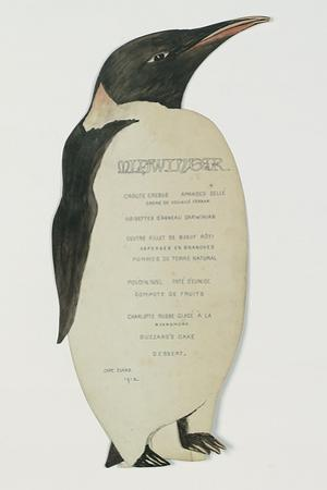Menu in the Shape on an Emperor Penguin, for the Midwinter's Day Dinner, Cape Evans, 22nd June 1912