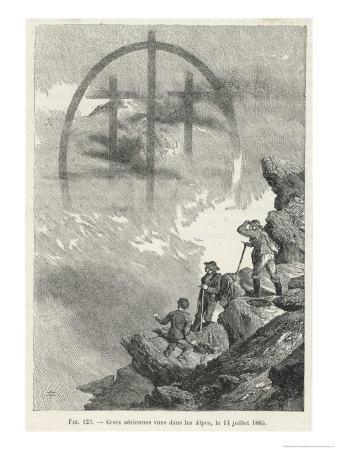 Brocken-Type Spectre in the Form of a Triple Cross Observed by Whymper in the Alps