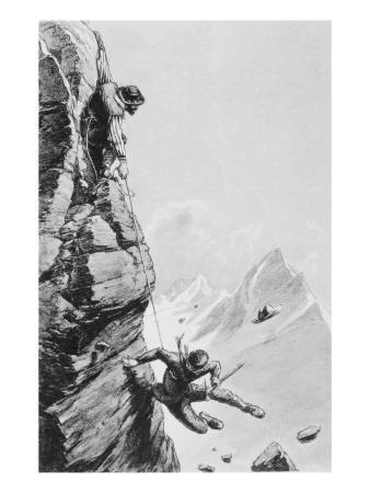 The Accident on Sefton, from 'scrambles Amongst the Alps' by Edward Whymper, Published 1871