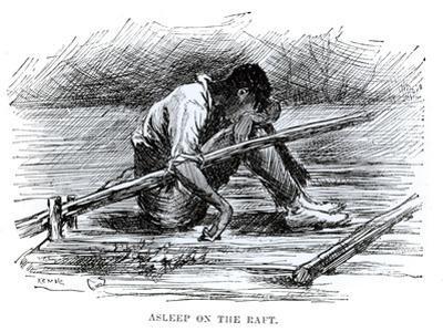 Asleep on the Raft, Illustration from 'The Adventures of Huckleberry Finn', by Mark Twain