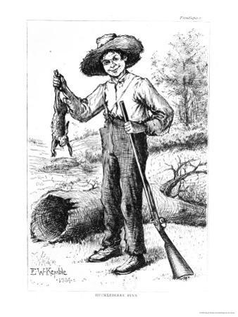 "Frontispiece to ""The Adventures of Huckleberry Finn,"" by Mark Twain 1884"