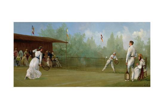 Edwardian Tennis Scene--Giclee Print