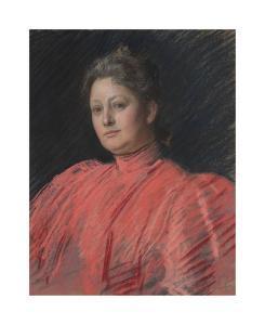 Portrait of Mrs. Abbey in Pink Dress, Waist Length by Edwin Austin Abbey