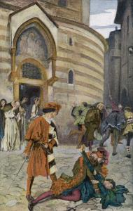 Romeo and Juliet, Act III Scene I, The Death of Mercutio Romeo's Friend by Edwin Austin Abbey
