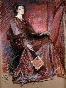 Seated Woman Wearing Elizabethan Headdress, 1897 by Edwin Austin Abbey