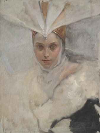 Woman with Osprey Headdress and White Fur Collar, 1897