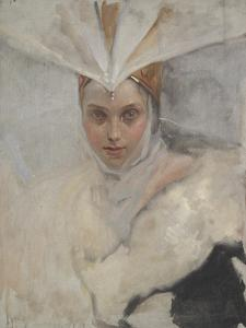 Woman with Osprey Headdress and White Fur Collar, 1897 by Edwin Austin Abbey