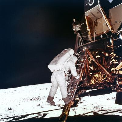 Edwin Buzz Aldrin Descends the Steps of the Lunar Module Ladder to Walk on the Moon, 1969--Photographic Print