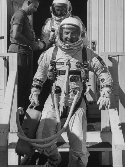 Edwin E  Aldrin Jr  with Co Pilot James E  Lovell Jr, Before Gemini 12  Flight Premium Photographic Print by | Art com