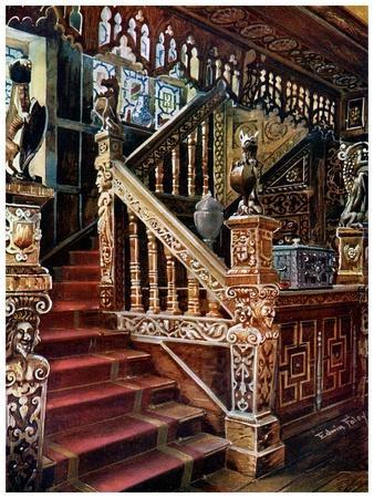 Carved Oaken Stairway, Godinton, 1910