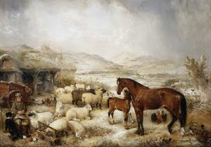The Farmyard in Winter by Edwin Frederick Holt