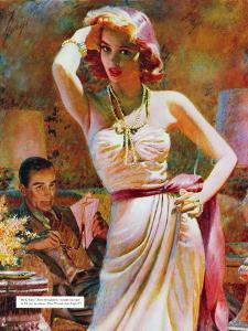 """She Wouldn't Believe Him - Saturday Evening Post """"Leading Ladies"""", October 1, 1955 pg.29 by Edwin Georgi"""