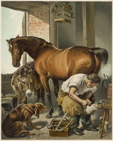 Blacksmith Puts a New Shoe on a Bay Mare by Edwin Henry Landseer
