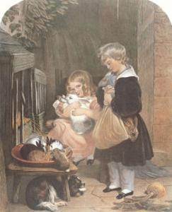 Children and Rabbits by Edwin Henry Landseer