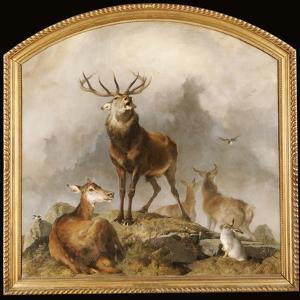 Scene in Braemar - Highland Deer by Edwin Henry Landseer