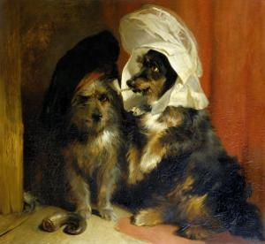 Two Small Dogs with Hats on Their Heads, c.1836 by Edwin Henry Landseer