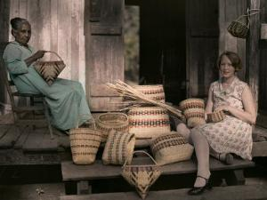 Ancestor of the Choctaws Sits Weaving Baskets with a Child by Edwin L. Wisherd