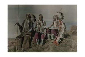 Three American Indians Pose at a Lookout in Montana by Edwin L. Wisherd