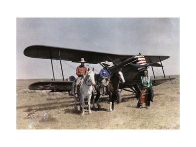Three Men Stand in Front of a Plane on the Crow Reservation
