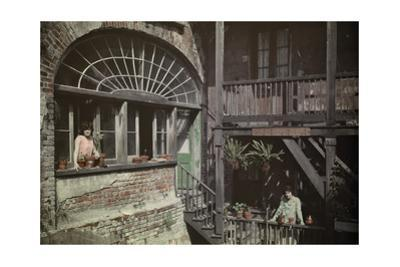 Women Peer Out of their Windows and Balconies in the French Quarter by Edwin L. Wisherd