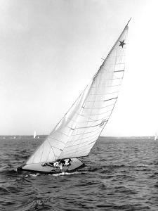 Star Class Boat Sail Number 1518 Heeled to Starboard by Edwin Levick