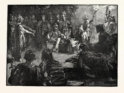 Edwin of Northumbria and the Christian Missionaries--Giclee Print