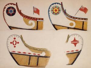 Examples of Basic Designs on Fur Trade Canoes by Edwin Tappan Adney