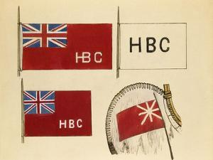 Hudson Bay Company Canoe Flags by Edwin Tappan Adney