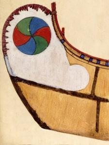 Six-Rayed Disc Decorating an Adney Drawing of a Canoe by Edwin Tappan Adney