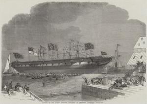 Launch of the Screw Frigate Ariadne at Deptford Dockyard by Edwin Weedon