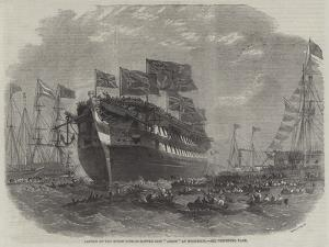 Launch of the Screw Line-Of-Battle Ship Anson at Woolwich by Edwin Weedon