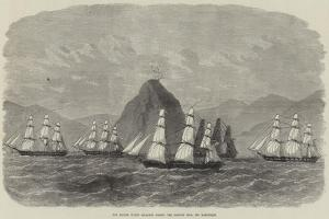 The British Flying Squadron Passing the Diamond Rock, Off Martinique by Edwin Weedon