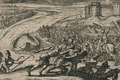 Een Schip met coren gheladen blyft op een drooghte Sitten; de Duytschen pooghent naer hen te trecke-Antonio Tempesta-Giclee Print