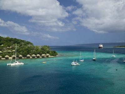 Efate Island Port Vila, Aerial View of Vila Bay and Iririki Island, Vanuatu-Walter Bibikow-Photographic Print
