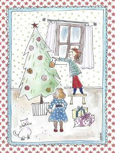 Children Decorating Xmas Tree by Effie Zafiropoulou