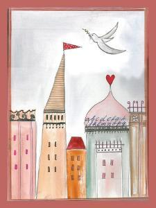 Fantasy Cityscape with Dove by Effie Zafiropoulou